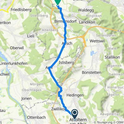Bärengasse 5, Affoltern am Albis nach Industriestrasse 1, Birmensdorf