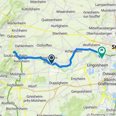 De A355, Ernolsheim-Bruche à 5 Rue des Brochets, Lingolsheim