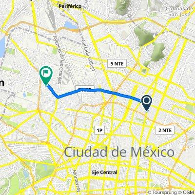 De Avenida Congreso de la Unión 3687–3735, Ciudad de México a Primera Privada del Recreo 12, Ciudad de México