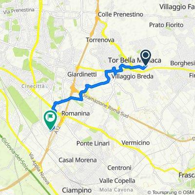 Da Via Amaretta 61, Tor Bella Monaca a Via Alberto Burri, Osteria del Curato