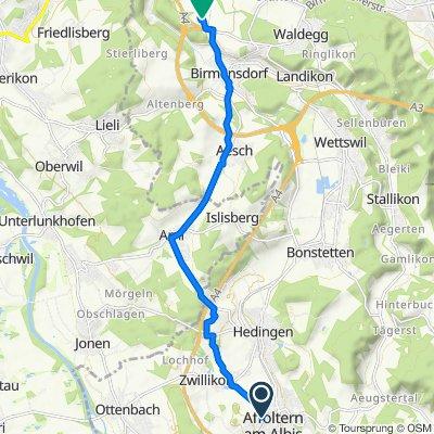Bärengasse 1, Affoltern am Albis nach Industriestrasse 1, Birmensdorf