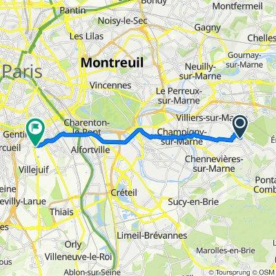 De Avenue Georges Foureau, Le Plessis-Trévise à 8 Rue Babeuf, Le Kremlin-Bicêtre