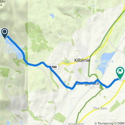 Route to 1 Spiers Ave, Beith