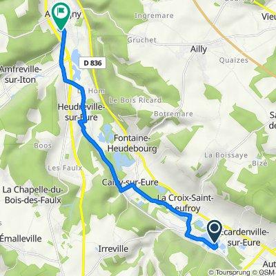 Itinéraire vers 11 La Vente aux Hommes, Acquigny