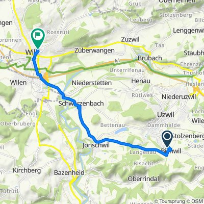 От Egg 8, Bichwil до Weierstrasse 9–19, Wil SG