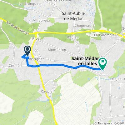 De 11 Allée des Symphonies, Saint-Médard-en-Jalles à 46–56 Rue Stendhal, Saint-Médard-en-Jalles
