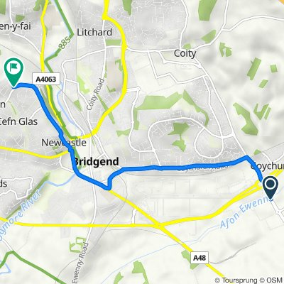 Brocastle Ave, Bridgend to 96 Merlin Crescent, Bridgend