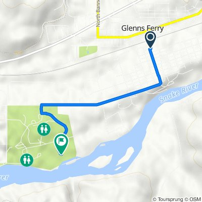 Route from 160 S Commercial St, Glenns Ferry