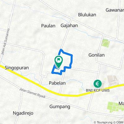 Jalan Gajahan 2b, Kecamatan Kartasura to Jalan Gajahan 2b, Kecamatan Kartasura
