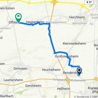Isenachweg, Beindersheim nach Wormser Straße 60, Offstein