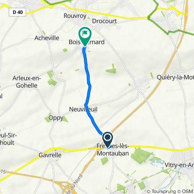 De 50 Route Nationale 50, Fresnes-lès-Montauban à 65–73 Route de Neuvireuil, Bois-Bernard