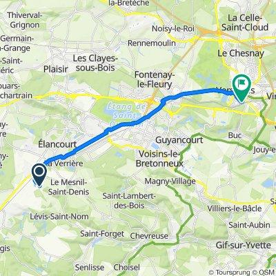 De 30 Route de Bellepanne, Le Mesnil-Saint-Denis à Place Raymond Poincaré, Versailles