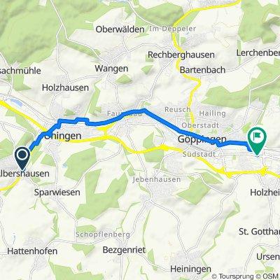 Uhinger Straße 21, Albershausen nach Ulmer Straße 121, Göppingen