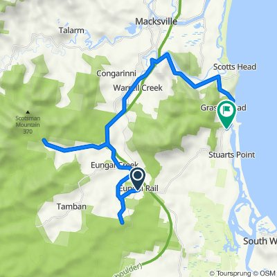 Route from 51 S Bank Rd, Eungai Rail
