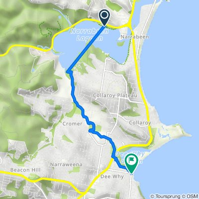 Route from 55 Wakehurst Parkway, North Narrabeen