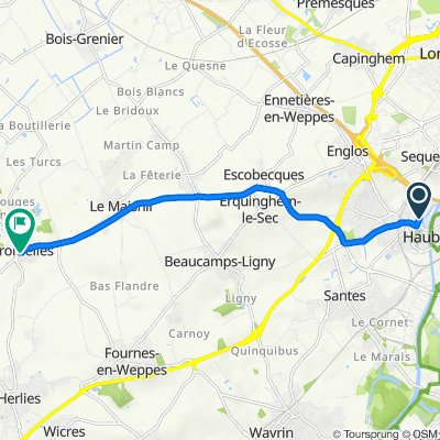 De 16ter Drève de Blaringhien, Haubourdin à 2 Rue de Verdun, Fromelles