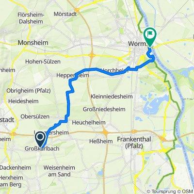 Zum Weinberg 4, Großkarlbach nach Am Rhein 3, Worms