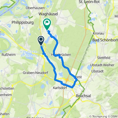 Unnamed Road, Philippsburg nach Schützenstraße 15, Waghäusel
