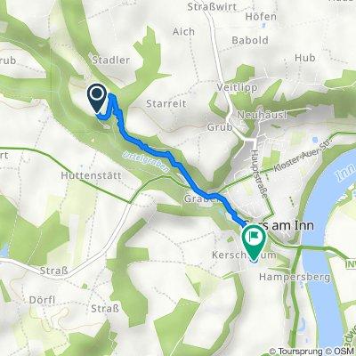 Amselgraben 2, Reichertsheim nach Innterrassenweg 1, Gars am Inn