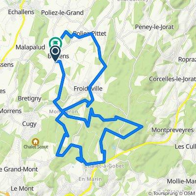 De Route de Lausanne 11, Bottens à Chemin du Bugnonet 20, Bottens