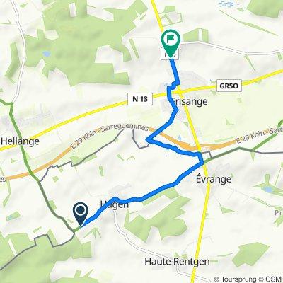 Route nach Lëtzebuergerstrooss 16A, Frisingen