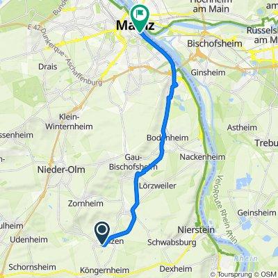 Im Hunnental 7, Hahnheim nach Rheinstraße 4H, Mainz