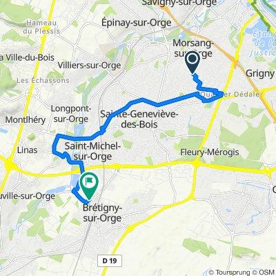 De 1ter Rue Cure d'Air, Morsang-sur-Orge à 20 Rue du Carouge, Brétigny-sur-Orge