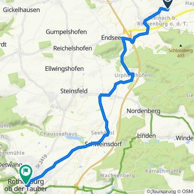 Lohrweg 3–7, Gallmersgarten nach Marktplatz 2, Rothenburg ob der Tauber