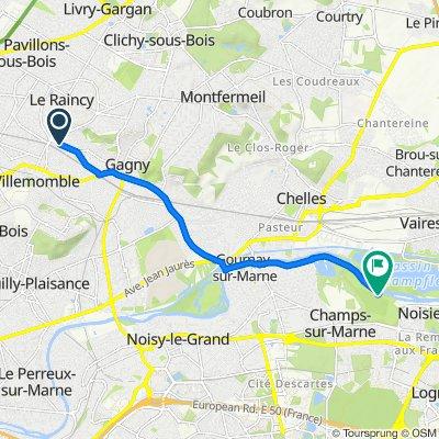 De 22 Allée Victor Hugo, Le Raincy à Chemin de la Rivière, Noisiel