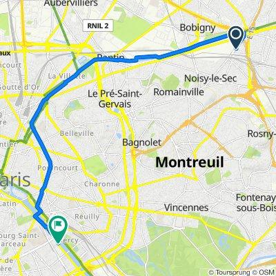 De 15 Rue du Docteur Charcot, Noisy-le-Sec à 16 Port de la Gare, Paris