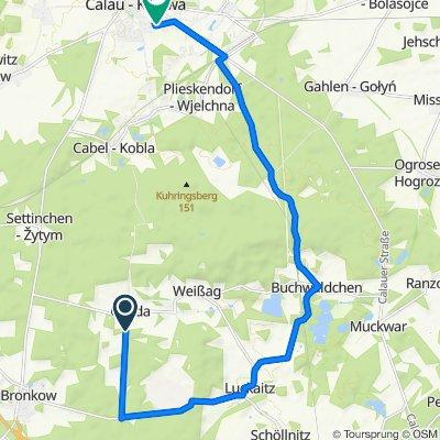 Liptener Straße 3, Luckaitztal nach Otto-Nuschke-Straße 63, Calau