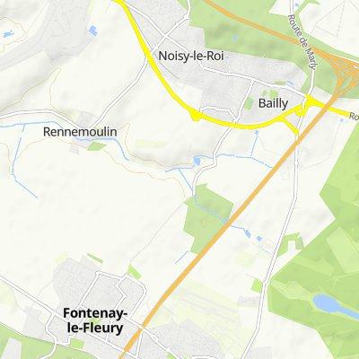 De Avenue Albert Schweitzer, Fontenay-le-Fleury à 1 Rue de Rennemoulin, Noisy-le-Roi