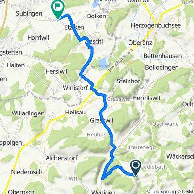Route nach Bahnweg, Etziken