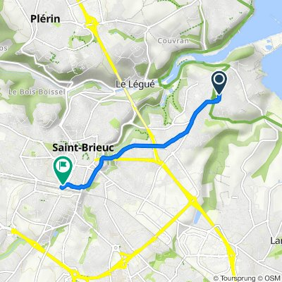 De Rue du Valais 5, Saint-Brieuc à Boulevard Charner 24T, Saint-Brieuc