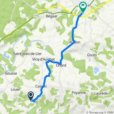 De 1355 Route des Sources, Gamarde-les-Bains à 3 Rue des Résiniers, Tartas