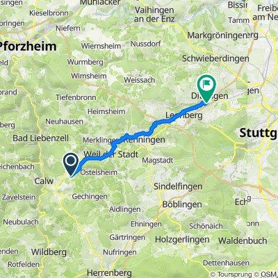Stammheimer Wiesenweg 5, Althengstett nach Thalesplatz, Ditzingen