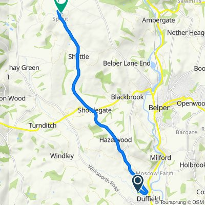 Route from 41B Holloway Road, Belper