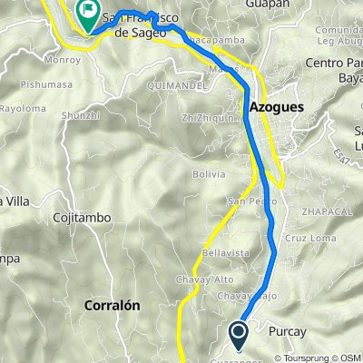 De Vía Guarangos Chico, Borrero a Troncal de la Sierra 351, Biblián