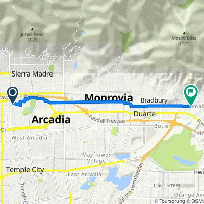 Route from 1105 Monte Verde Dr, Arcadia