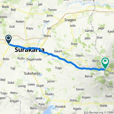 Gang 1 14, Kecamatan Kartasura to Jalan Lawu Lama, Kecamatan Plaosan