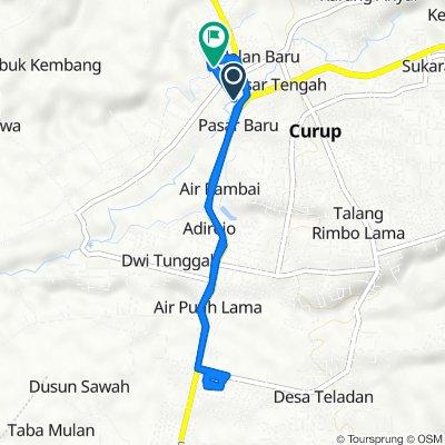 Jalan Merdeka 89, Curup to Jalan D.I. Panjaitan 17, Curup