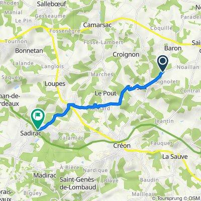 De 11 Route des Palombières, Baron à 21–25 Route de Créon, Sadirac