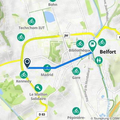 De 10 Rue de Luxembourg, Belfort à Pont Sadi Carnot, Belfort