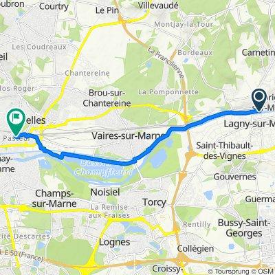 De Quai de Marne 13, Thorigny-sur-Marne à Rue de la Paix 3, Chelles