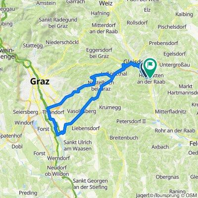 Lassnitzhöhe, Graz, Murufer, Kalsdorf, Flöcking retour 75 km