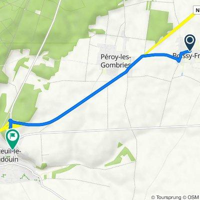 De 1–2 Impasse du Village, Boissy-Fresnoy à 2 Rue du Gué, Nanteuil-le-Haudouin