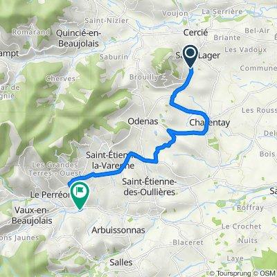 De 1206 Route des Brouilly, Saint-Lager à 616 Route de la Cochère, Le Perréon