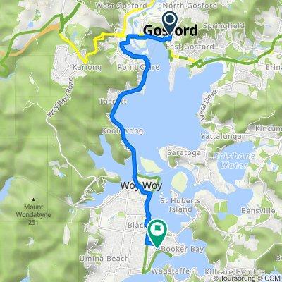 113 Donnison Street, Gosford to 404 Ocean View Road, Ettalong Beach( Perfect for E-bike)