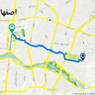 Route to میدان امام حسین, اصفهان