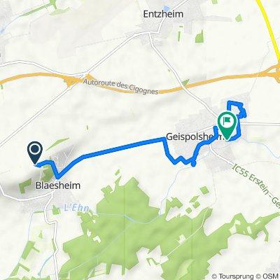 De Rue de la Montagne, Blaesheim à Rue des Saules 2, Geispolsheim